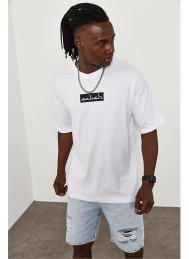 XHAN ÖnüArkası Baskı Overize T-Shirt 1YXE1-45090-01 Beyaz